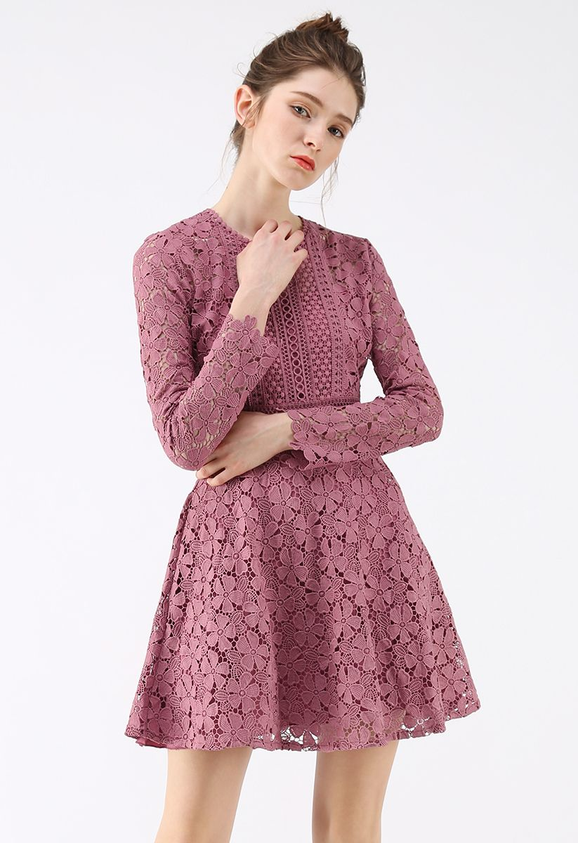Garden Party Floral Crochet Dress in Rouge Pink