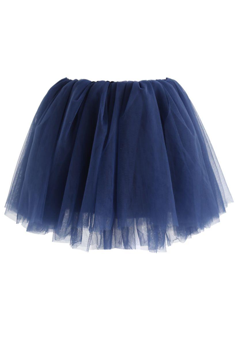 Amore Mesh Tulle Skirt in Navy For Kids