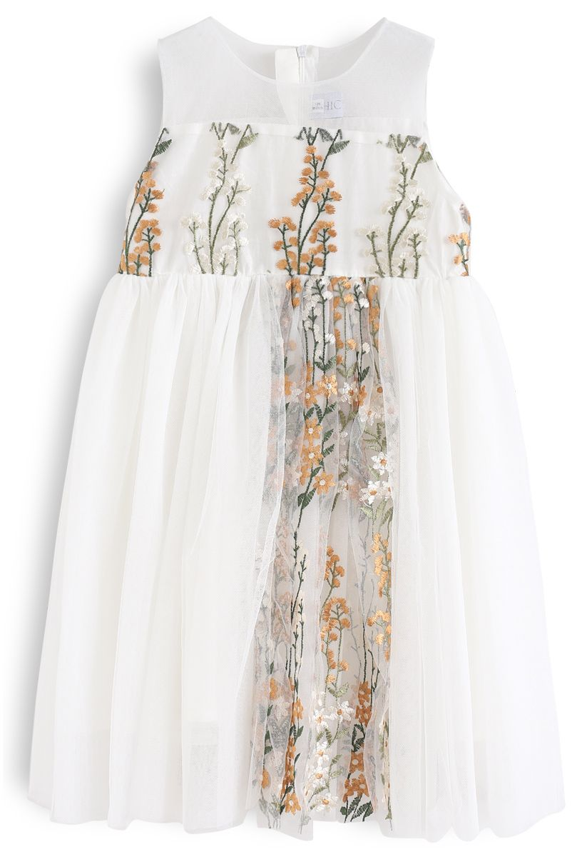 Little Darling Sleeveless Embroidered Mesh Dress in Cream For Kids