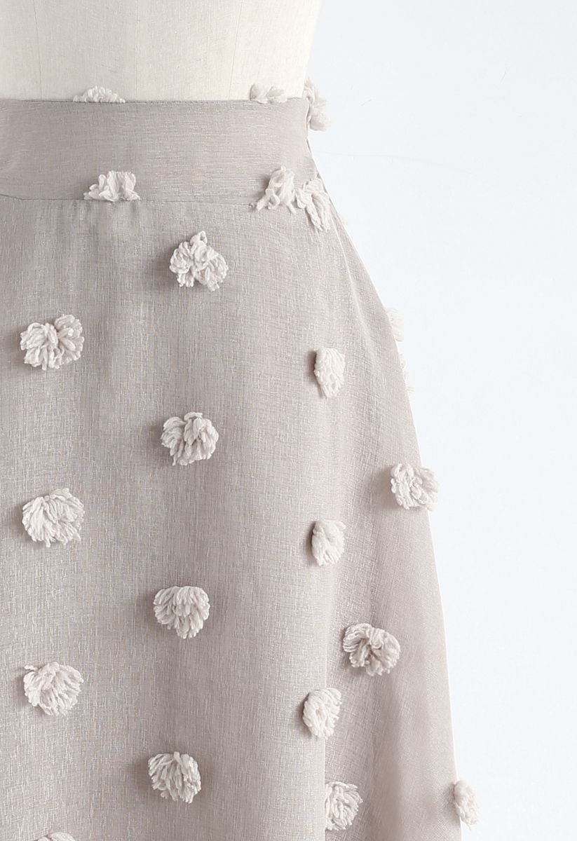 Cotton Candy Sheer 3D Flower Skirt in Taupe
