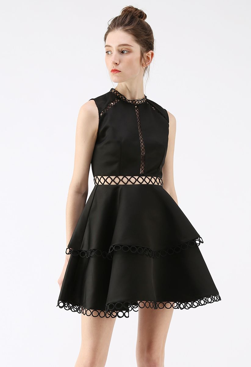 Show Your Elegance Eyelet Sleeveless Dress in Black