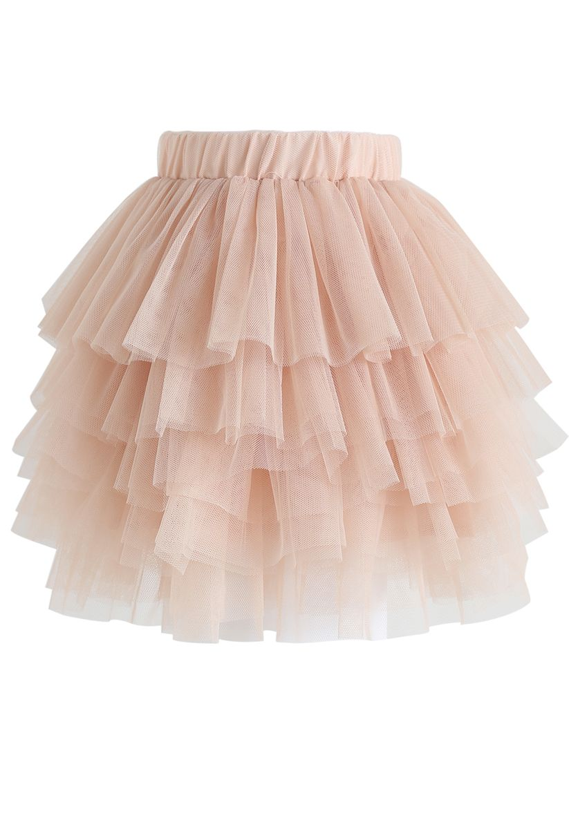 Love Me More Layered Tulle Skirt in Nude Pink for Kids