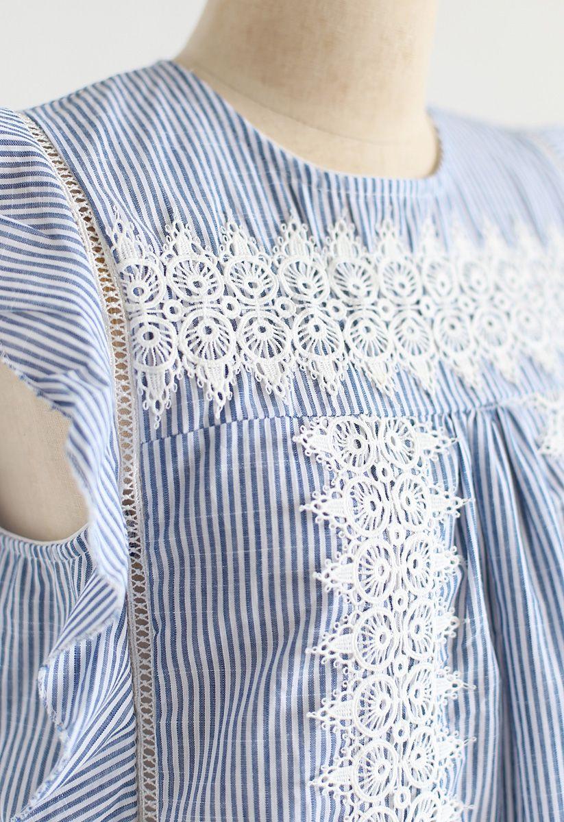 Crochet Reverie Sleeveless Top in Stripe