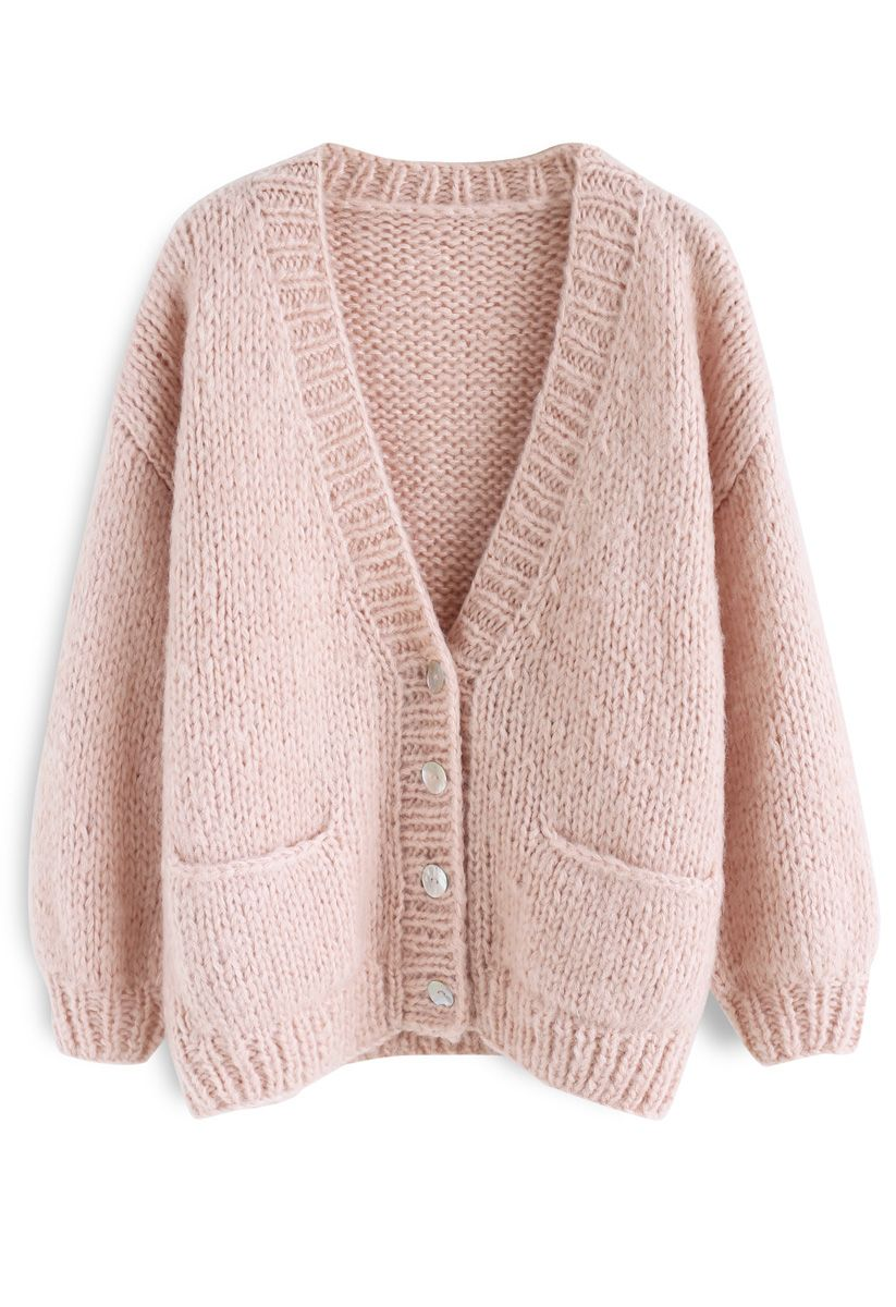 Pause for the Cozy Chunky Hand Knit Cardigan in Pink