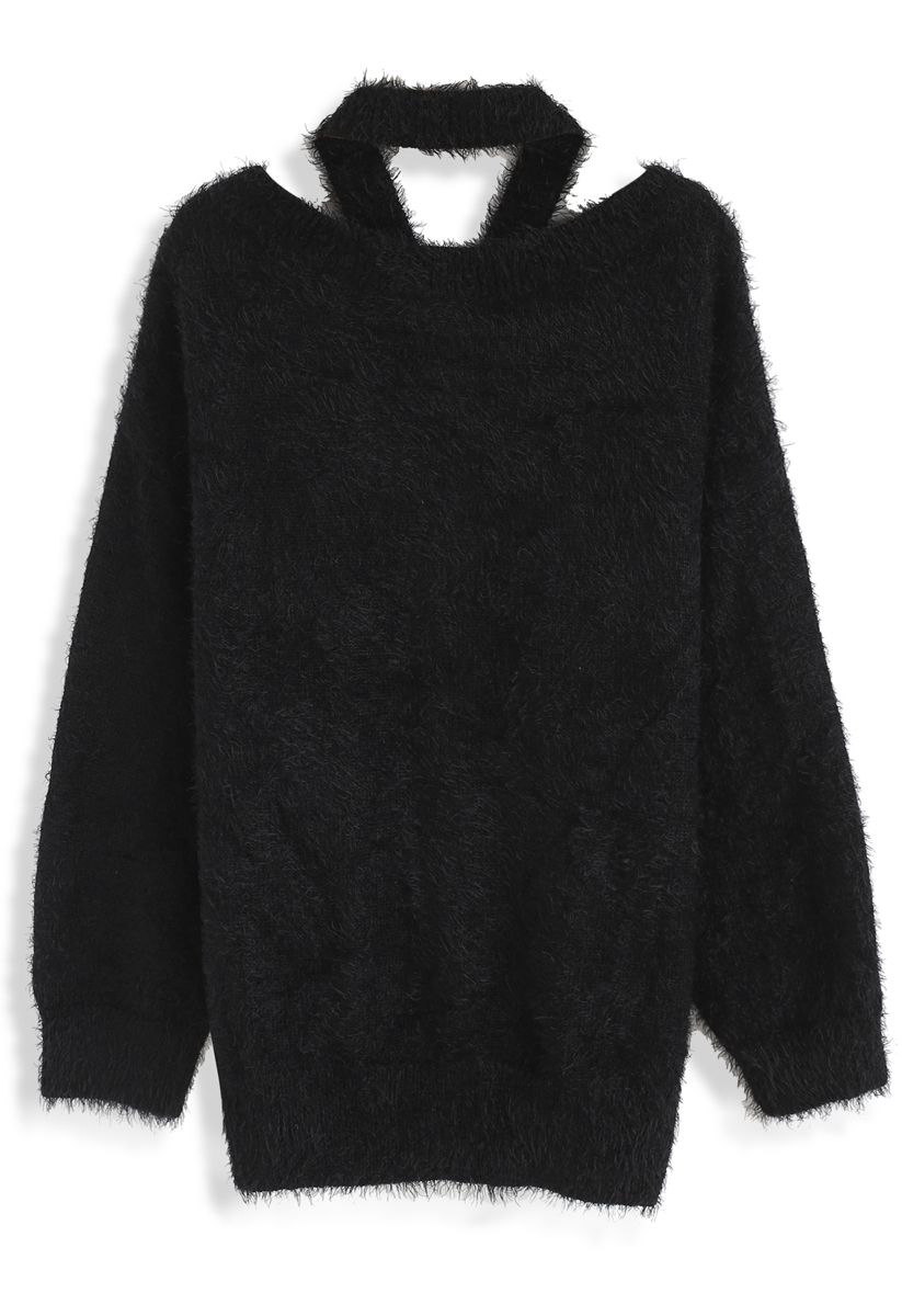 Keep Me Cozy Fluffy Cold-Shoulder Knit Sweater in Black