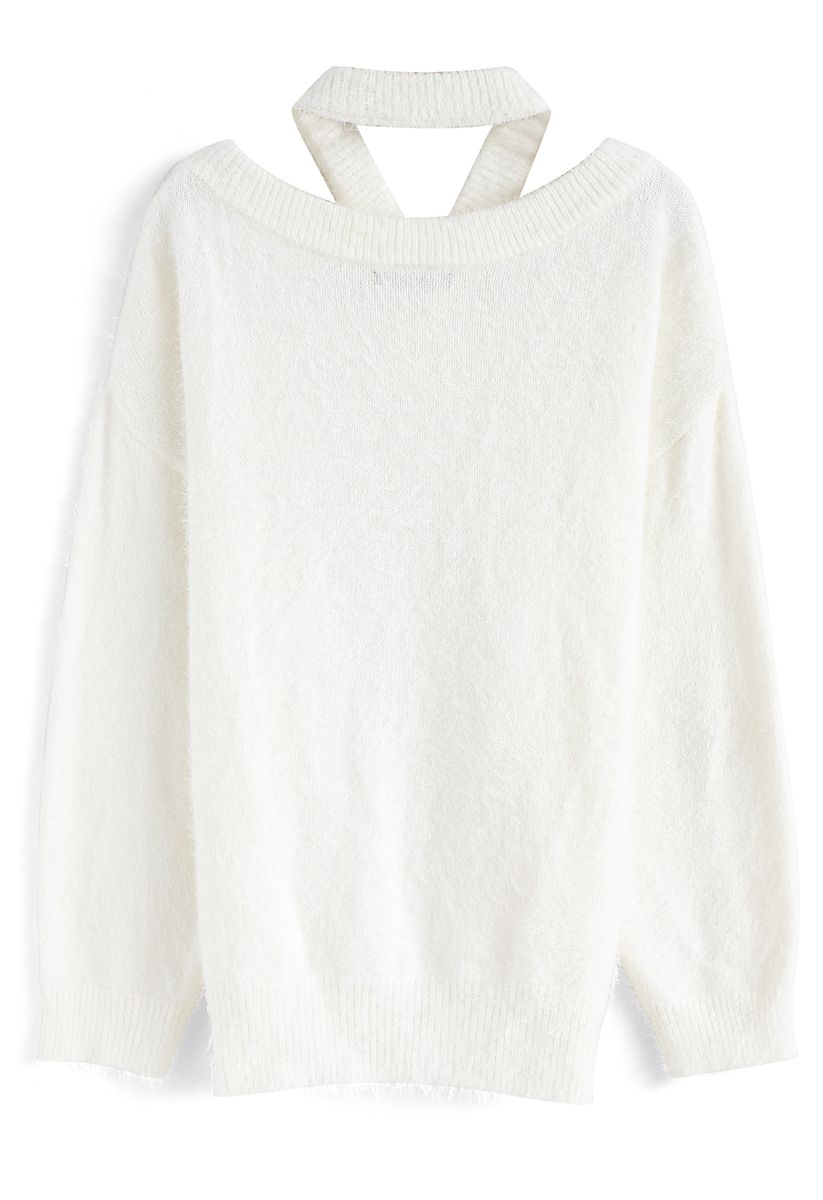 Keep Me Cozy Fluffy Cold-Shoulder Knit Sweater in White