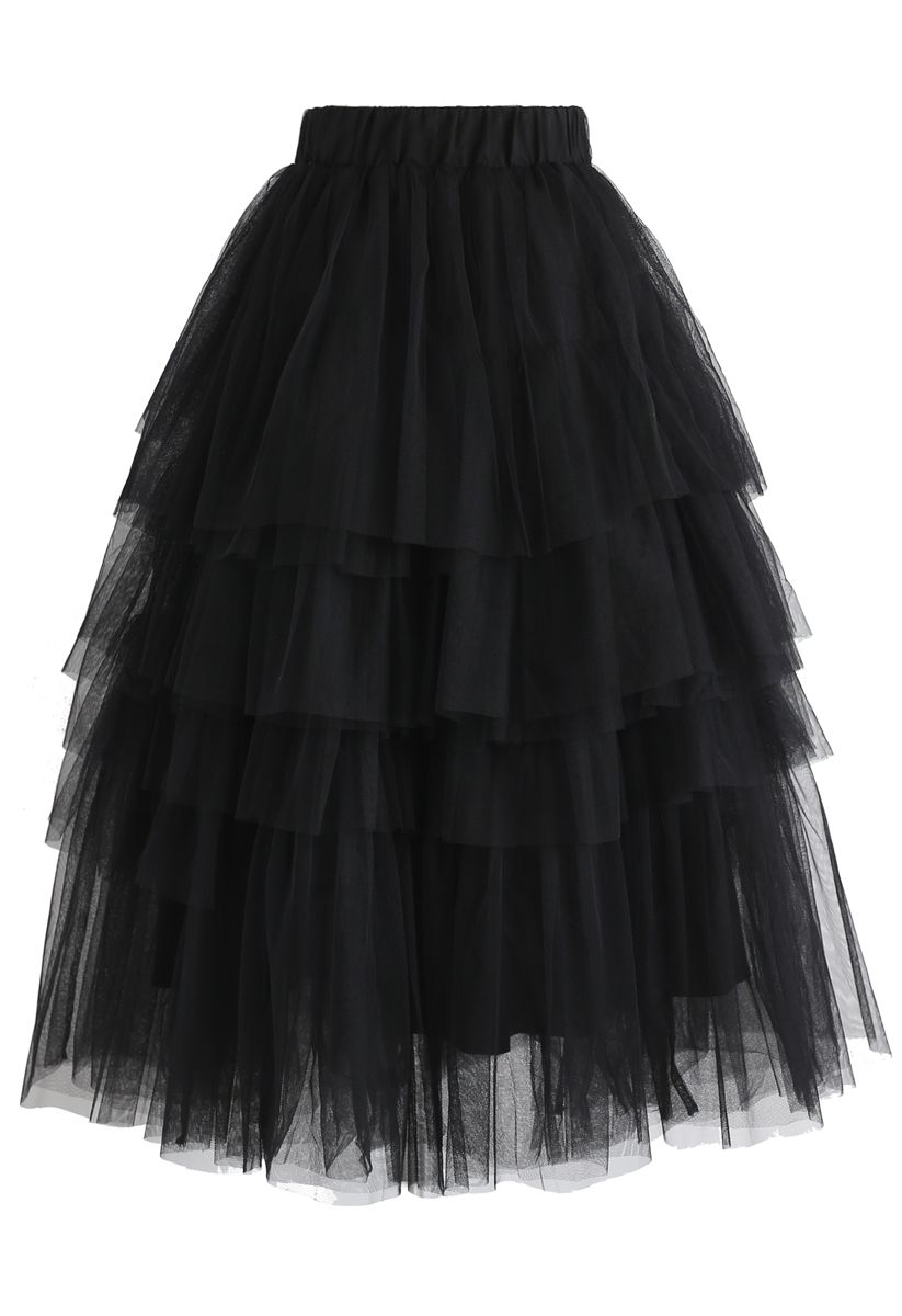 Love Me More Layered Tulle Skirt in Black