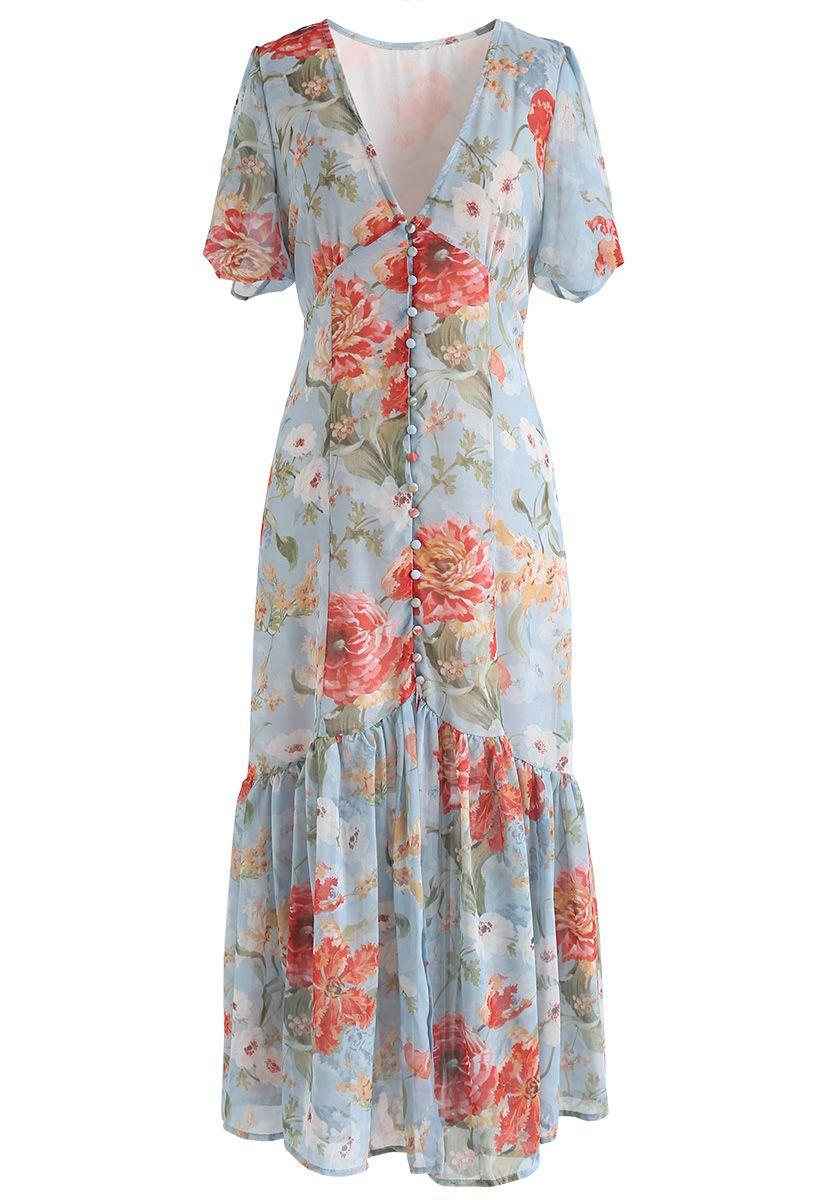 Garden Glamour Watercolor V-neck Dress