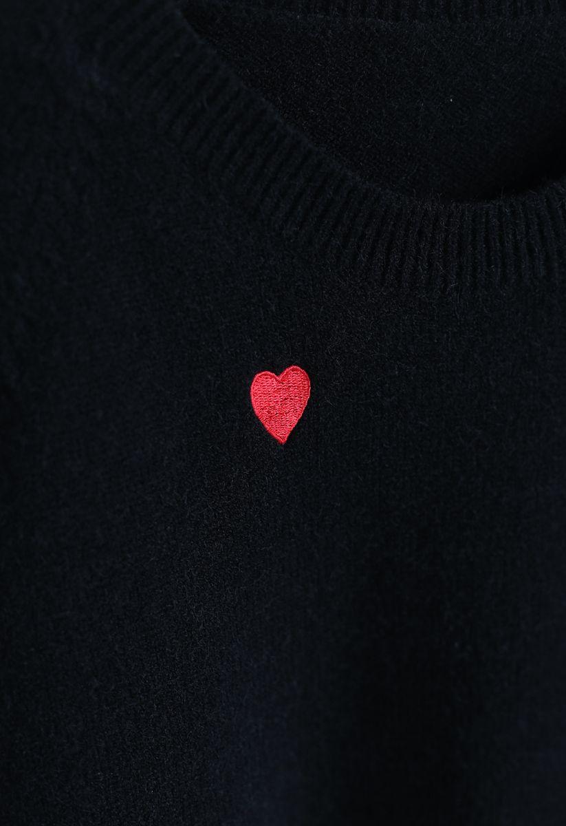 Sweet Love Spot Knit Sweater in Black