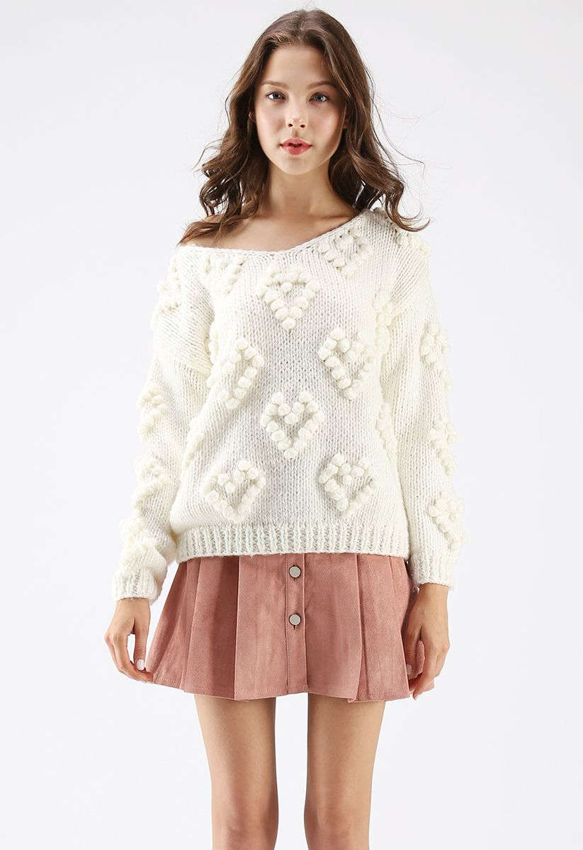Knit Your Love V-Neck Sweater in White