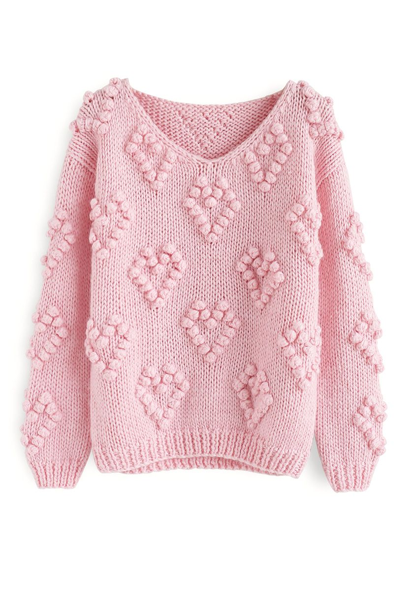 Knit Your Love V-Neck Sweater in Pink