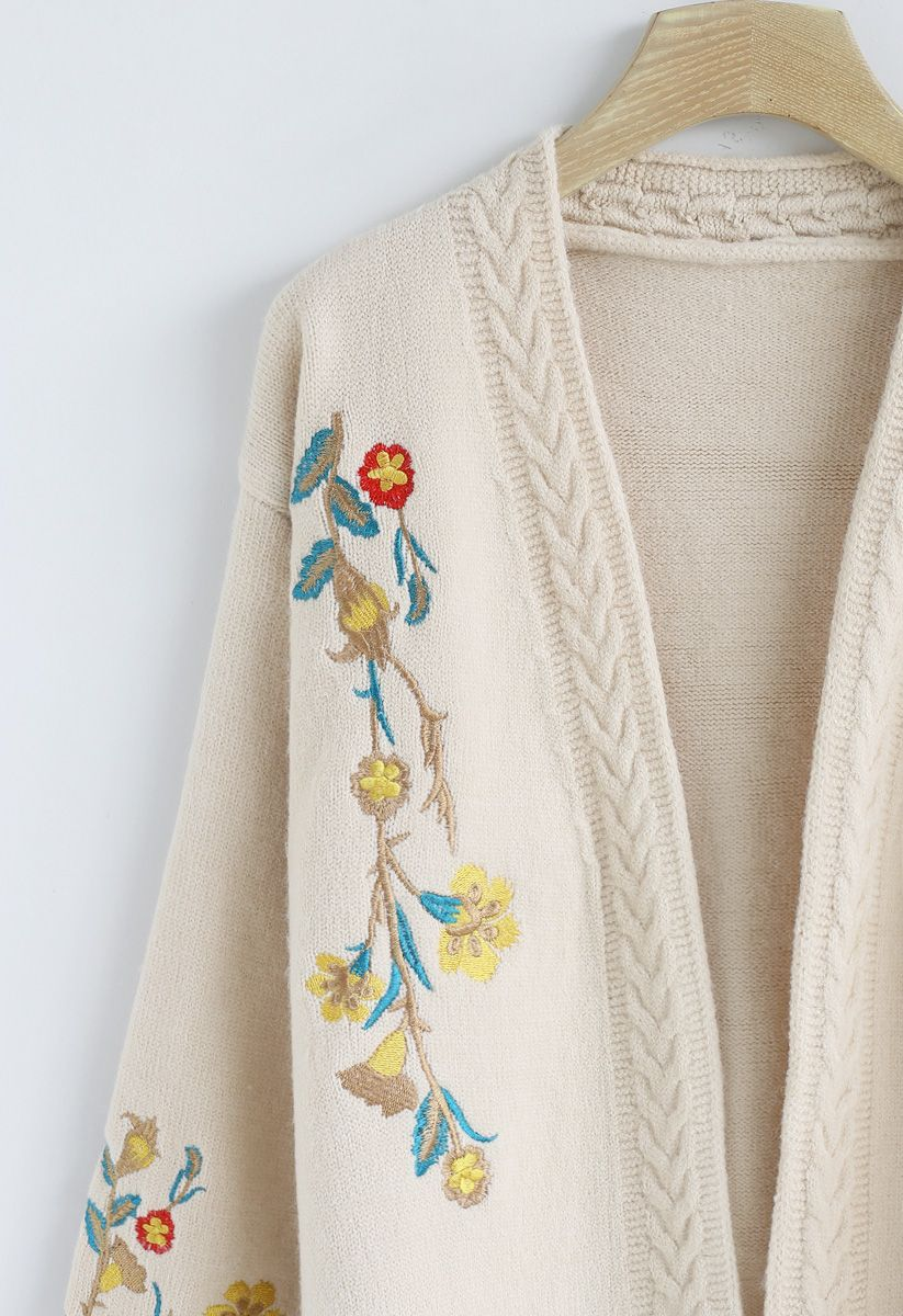 Dreamy Blossom Embroidered Cardigan in Ivory