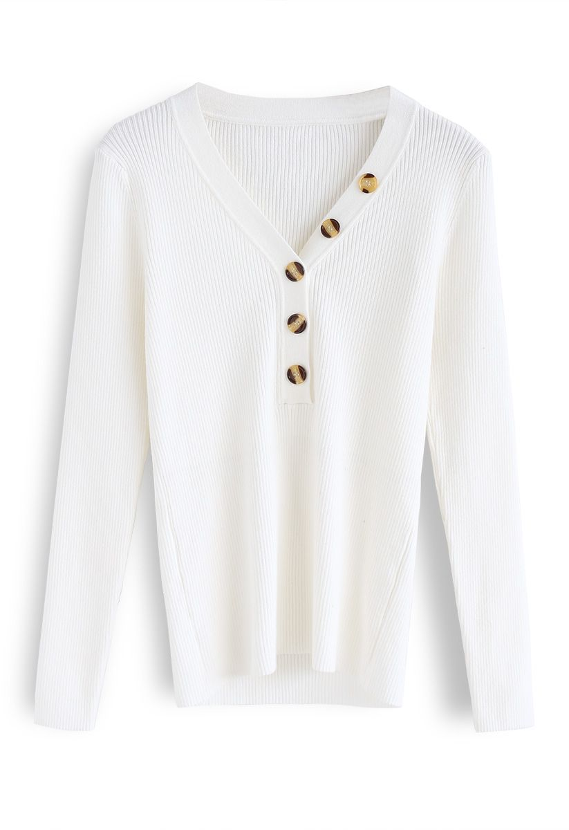 Curvy Beauty Ribbed Knit Top in White