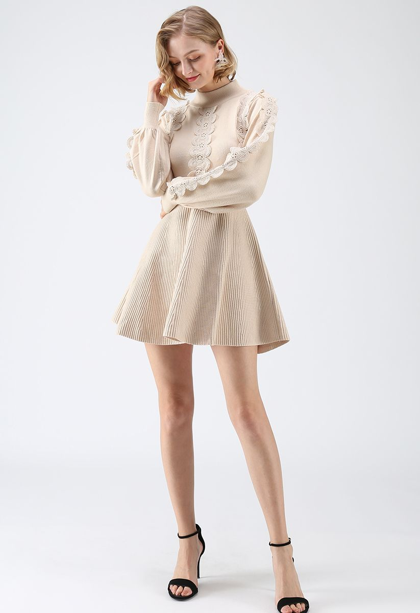 Amiable Attraction Crochet A-Lined Knit Dress in Cream