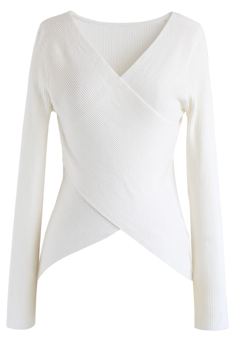 Lust for Freedom Cross Wrap Knit Top in White