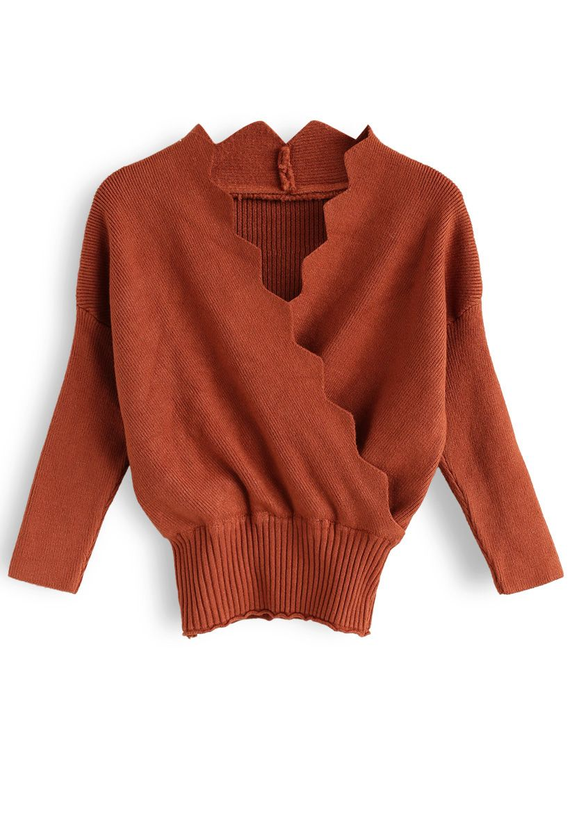 Cafe Time Wavy Wrap Knit Top in Caramel