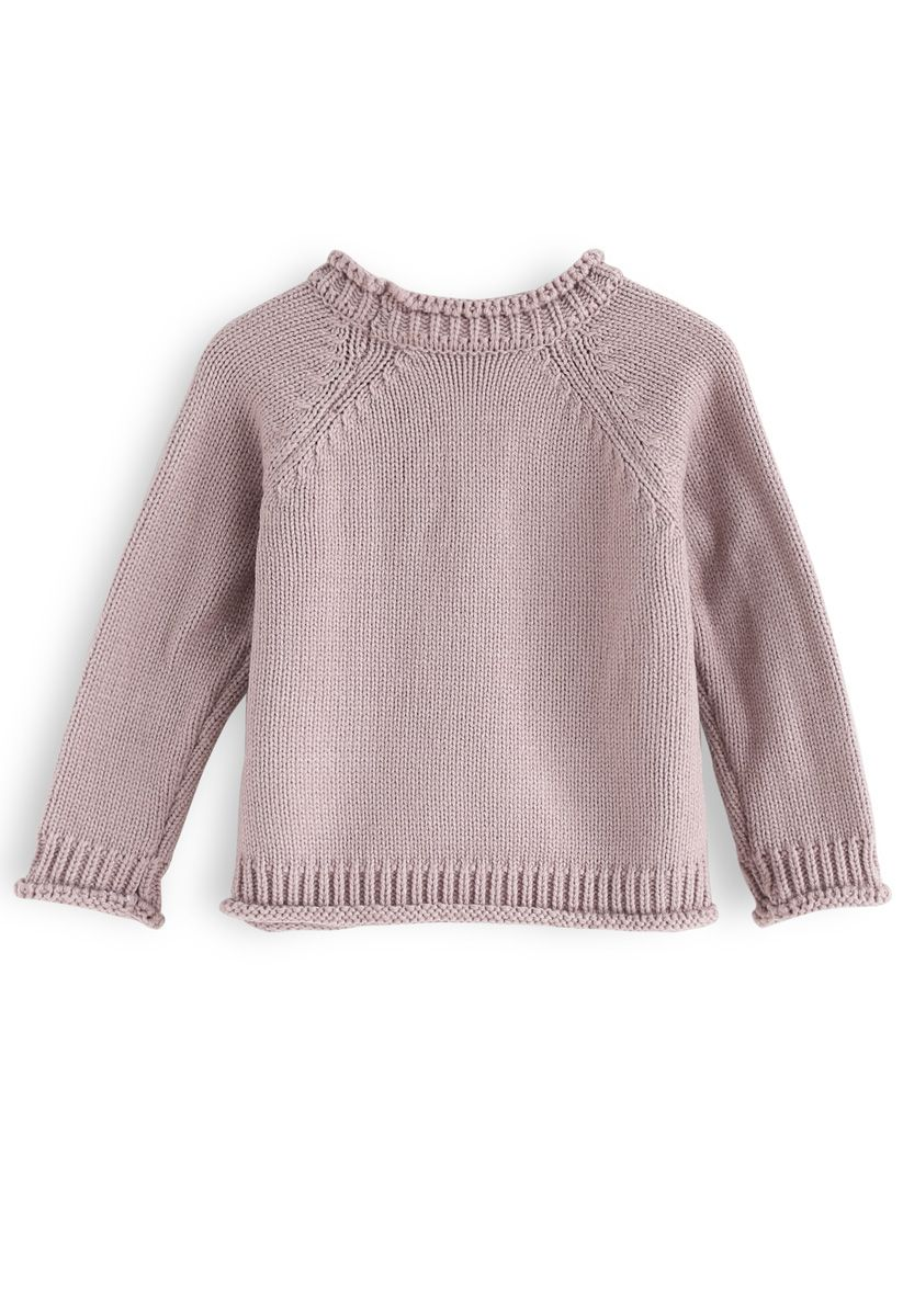 Add More Flowers Embroidered Sweater in Dusty Pink For Kids