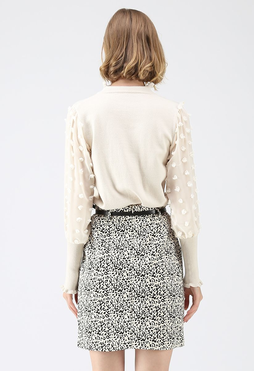 It Will Change Knit Top with Chiffon Sleeves in Cream