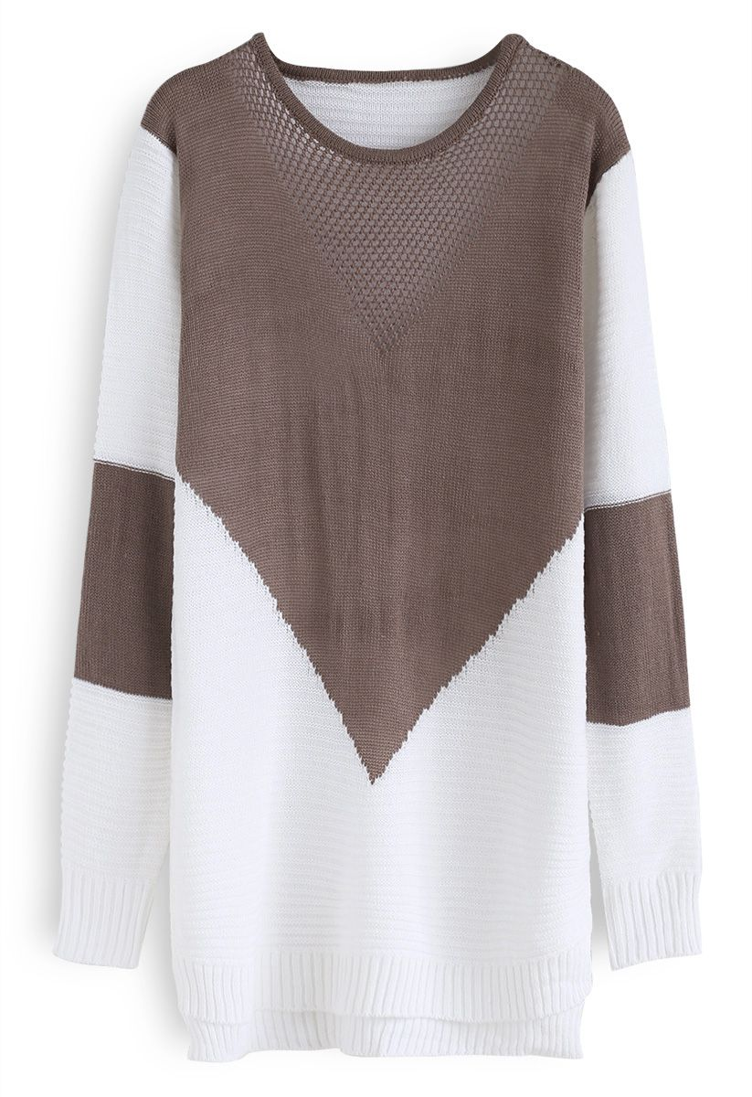 Color Blocking Longline Sweater in Tan