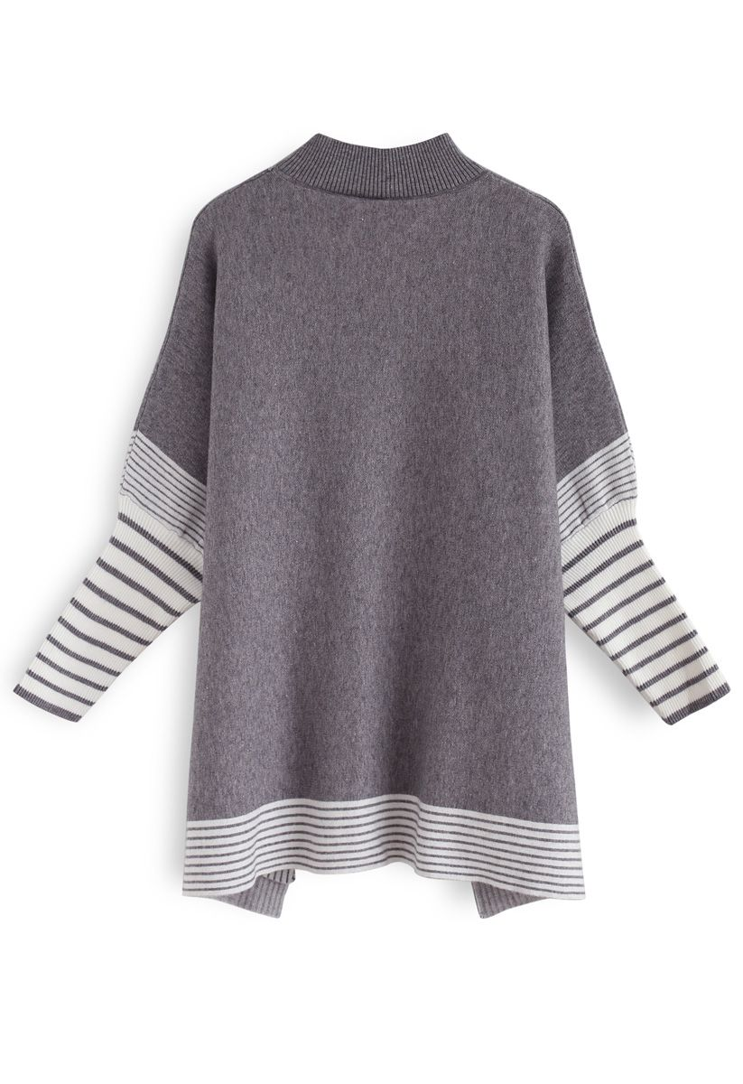 Lie in Grey Fields Striped Oversize Knit Cape Sweater