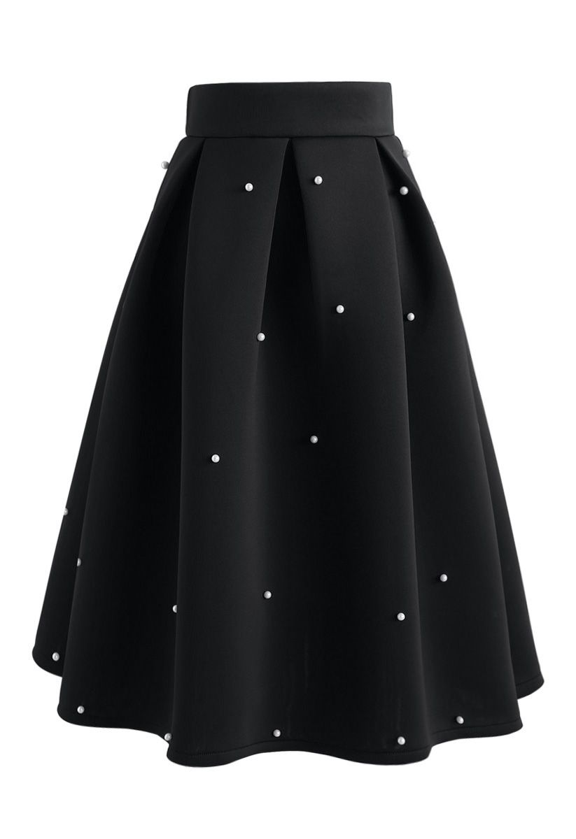 Pearls Bliss Airy Pleated Midi Skirt in Black