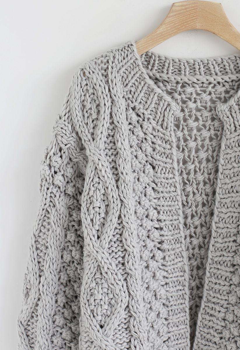 Wintry Morning Cable Knit Cardigan in Grey