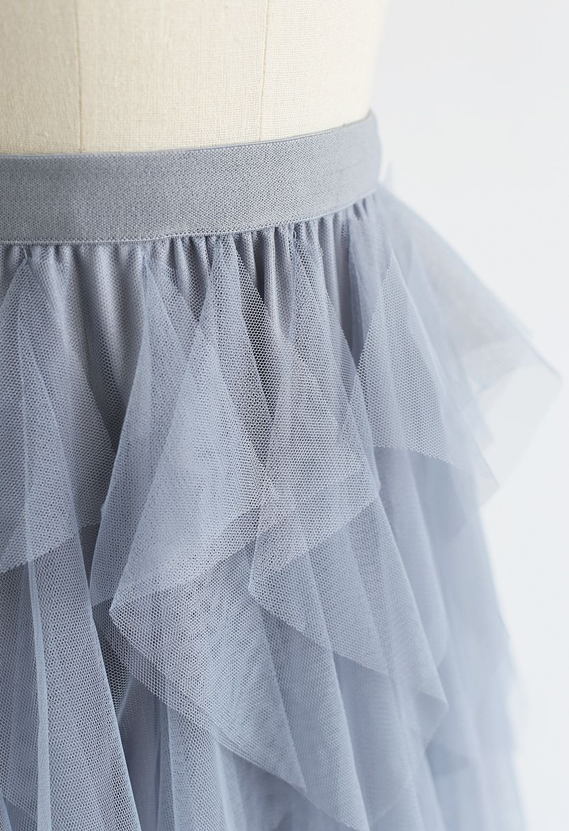The Clever Illusions Mesh Skirt in Dusty Blue
