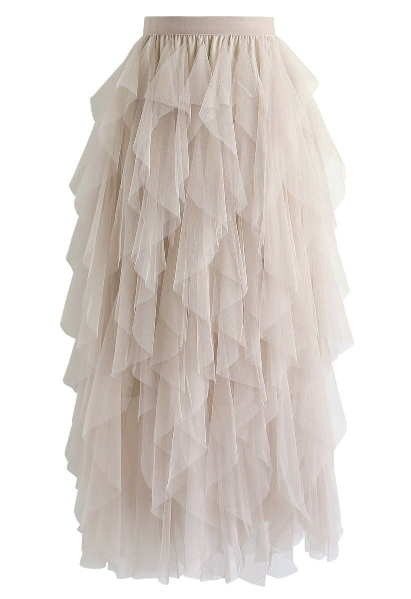 The Clever Illusions Mesh Skirt in Cream