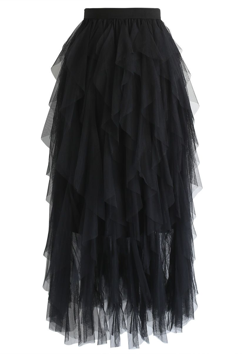 The Clever Illusions Mesh Skirt in Black