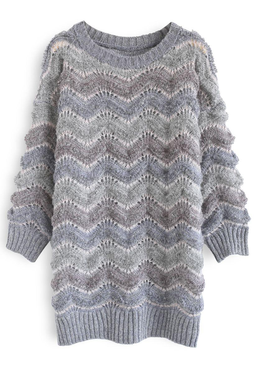 Wavy Stripes Fluffy Longline Sweater
