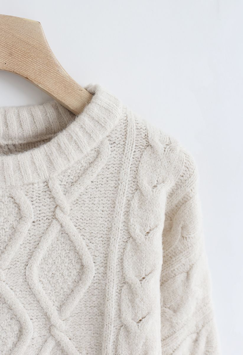 Cable Knit Bliss Longline Sweater in Sand