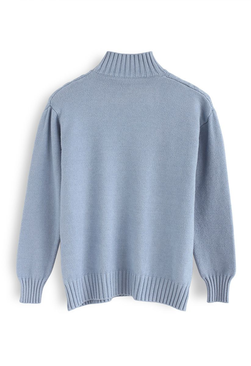 Automatic Love Knit Sweater in Blue