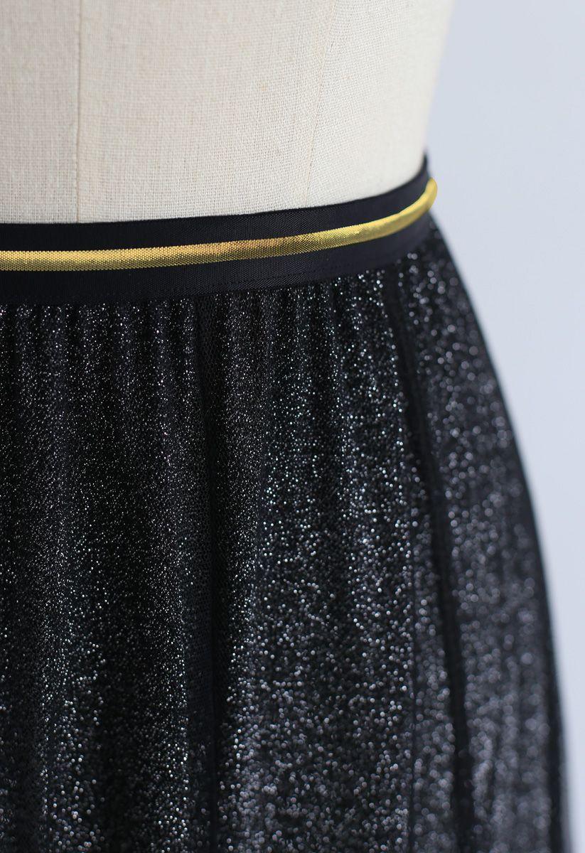 My Secret Weapon Tulle Maxi Skirt in Glitter Black
