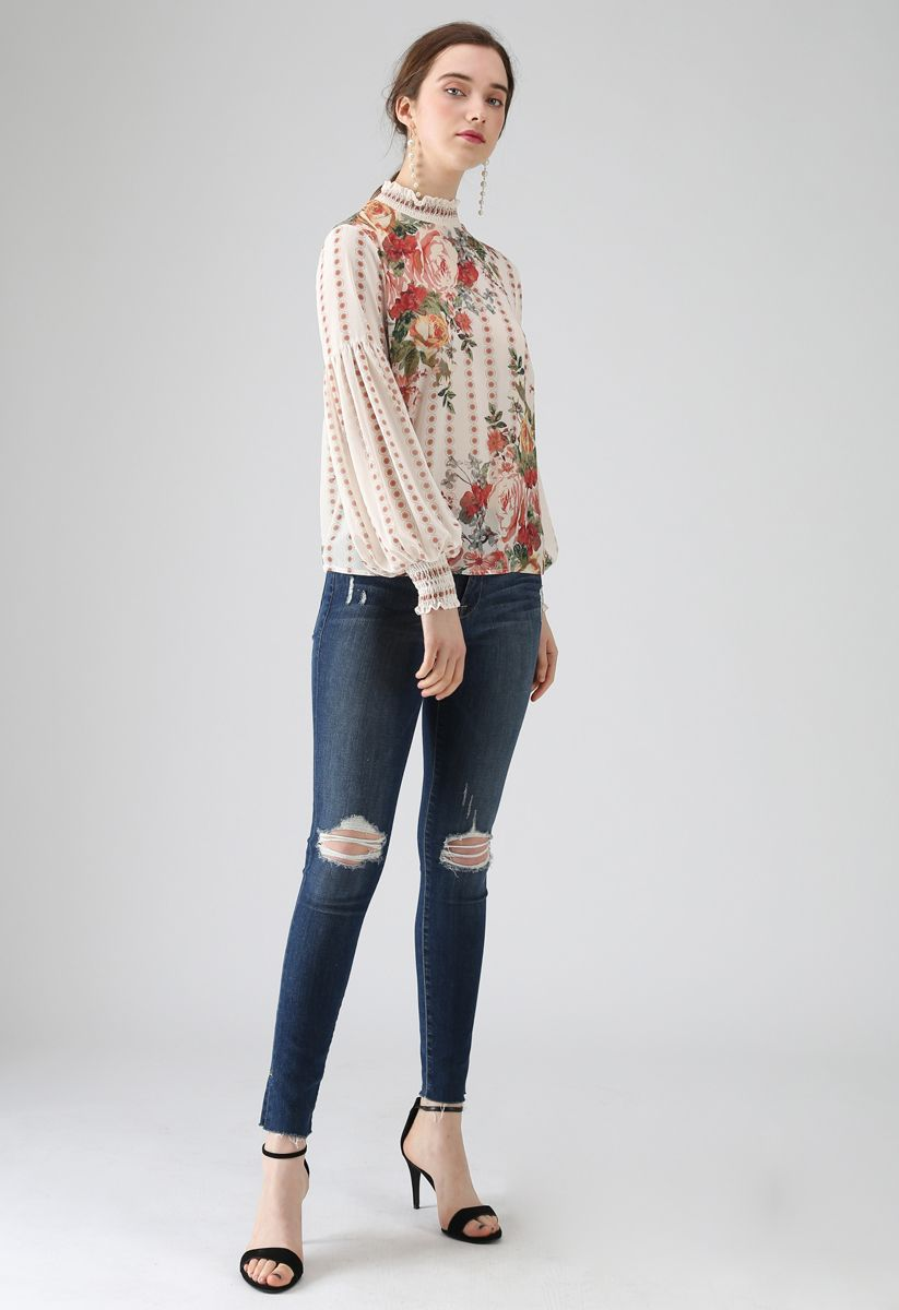 Fancy in Gardens Floral Chiffon Top