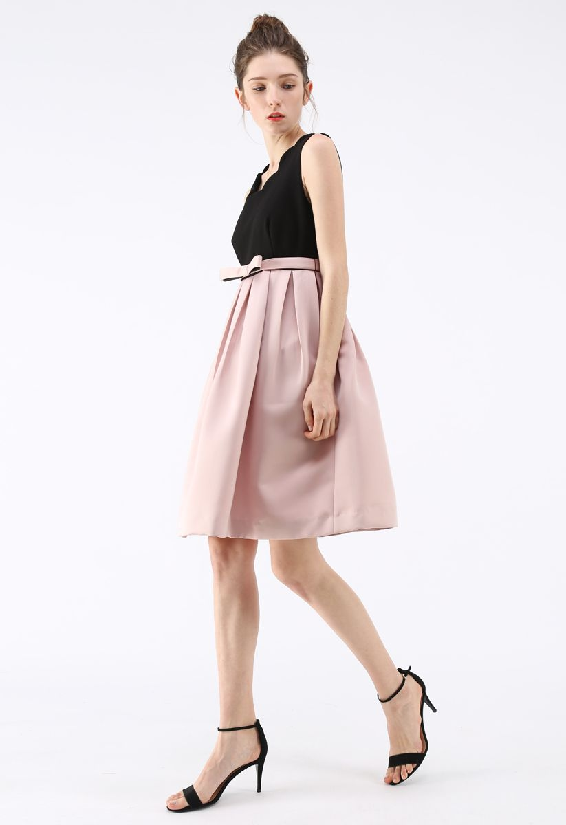 Splicing Elegance Bowknot Sleeveless Dress