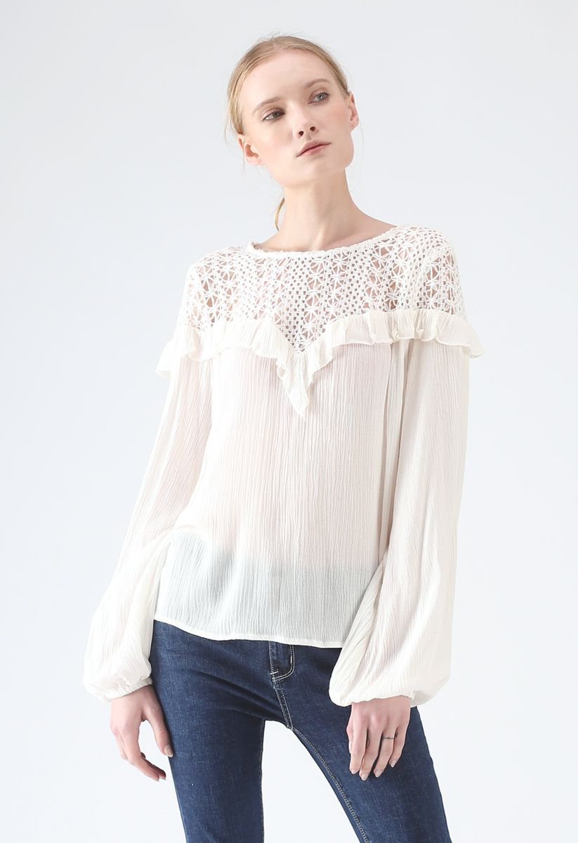 Age of Innocence Eyelet Smock Top in White