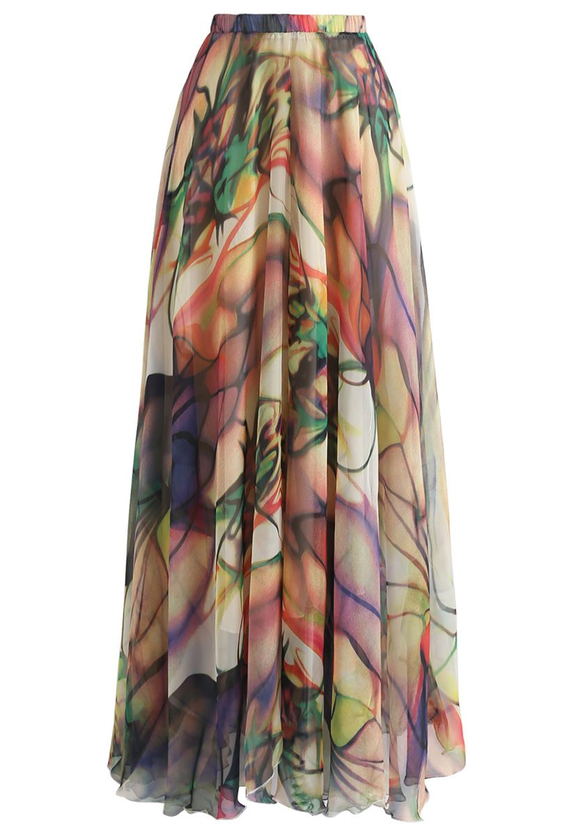Richly Tinting Watercolor Maxi Skirt