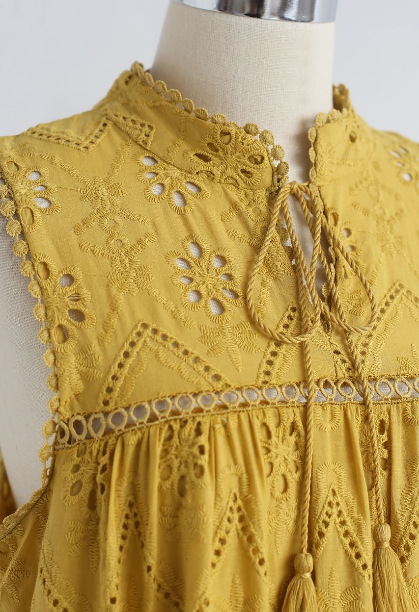 Try To Be Boho Embroidered Eyelet Maxi Dress in Mustard