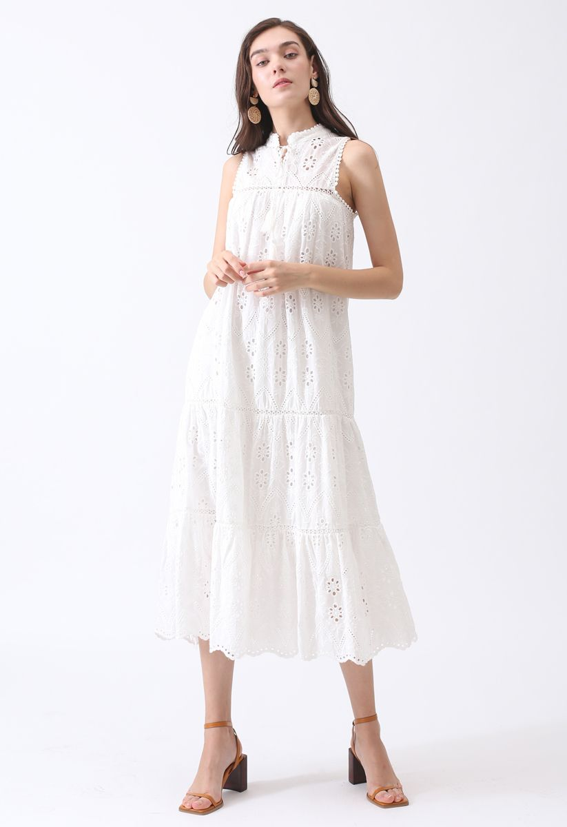 Try To Be Boho Embroidered Eyelet Maxi Dress in White