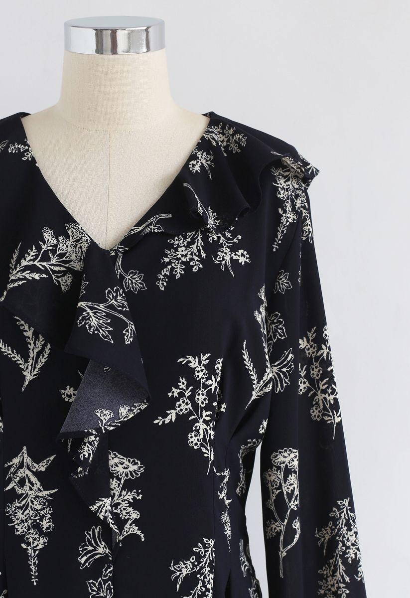 Plants Aplenty Printed Chiffon Dress in Navy