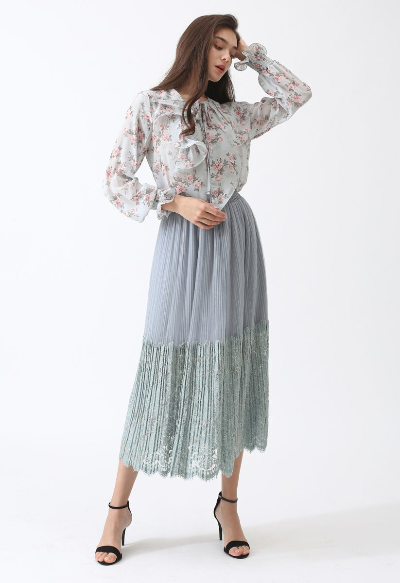 The Way of Love Lace Spliced Mesh Skirt
