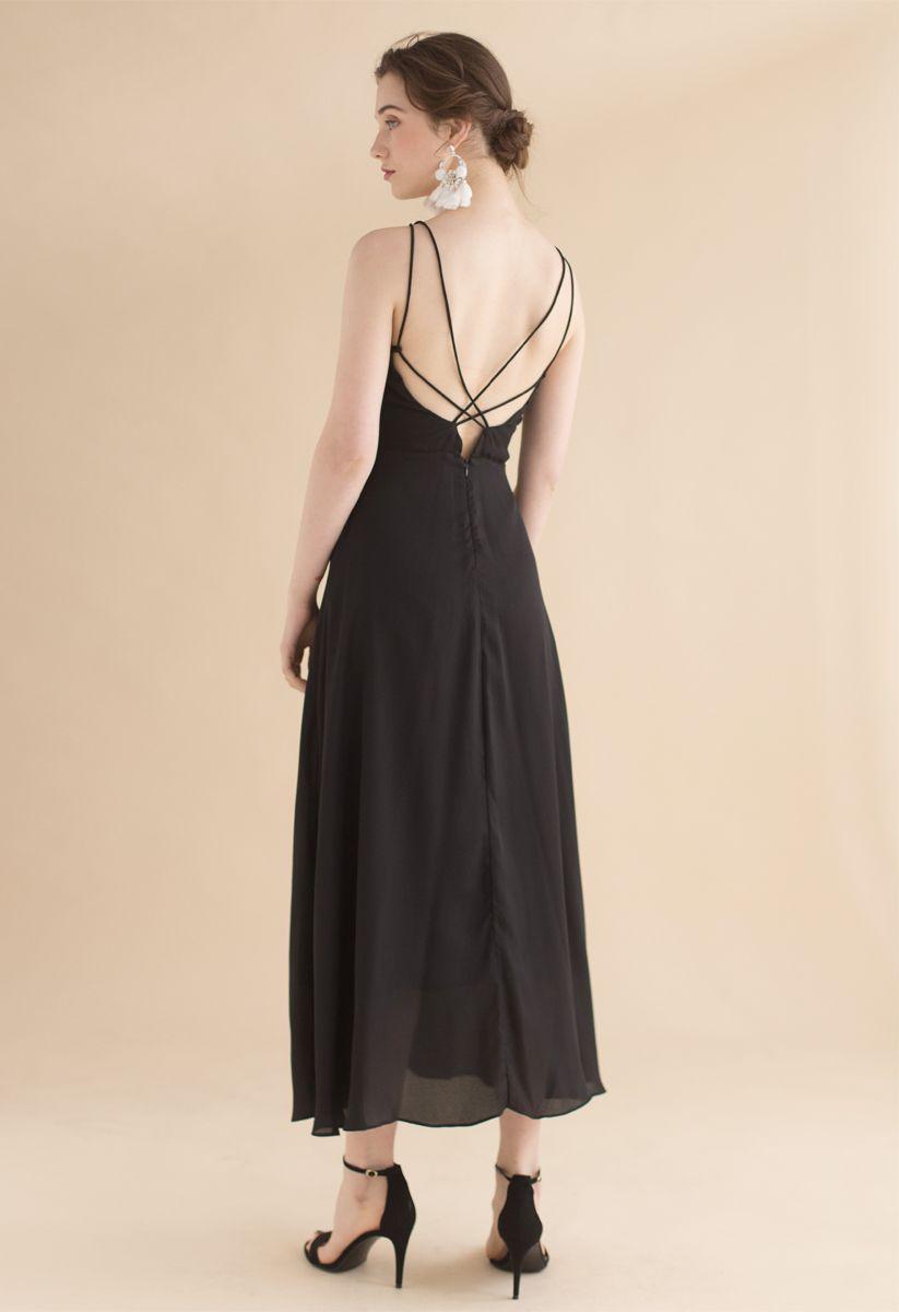 Gorgeous Movement Cross Back Maxi Dress in Black