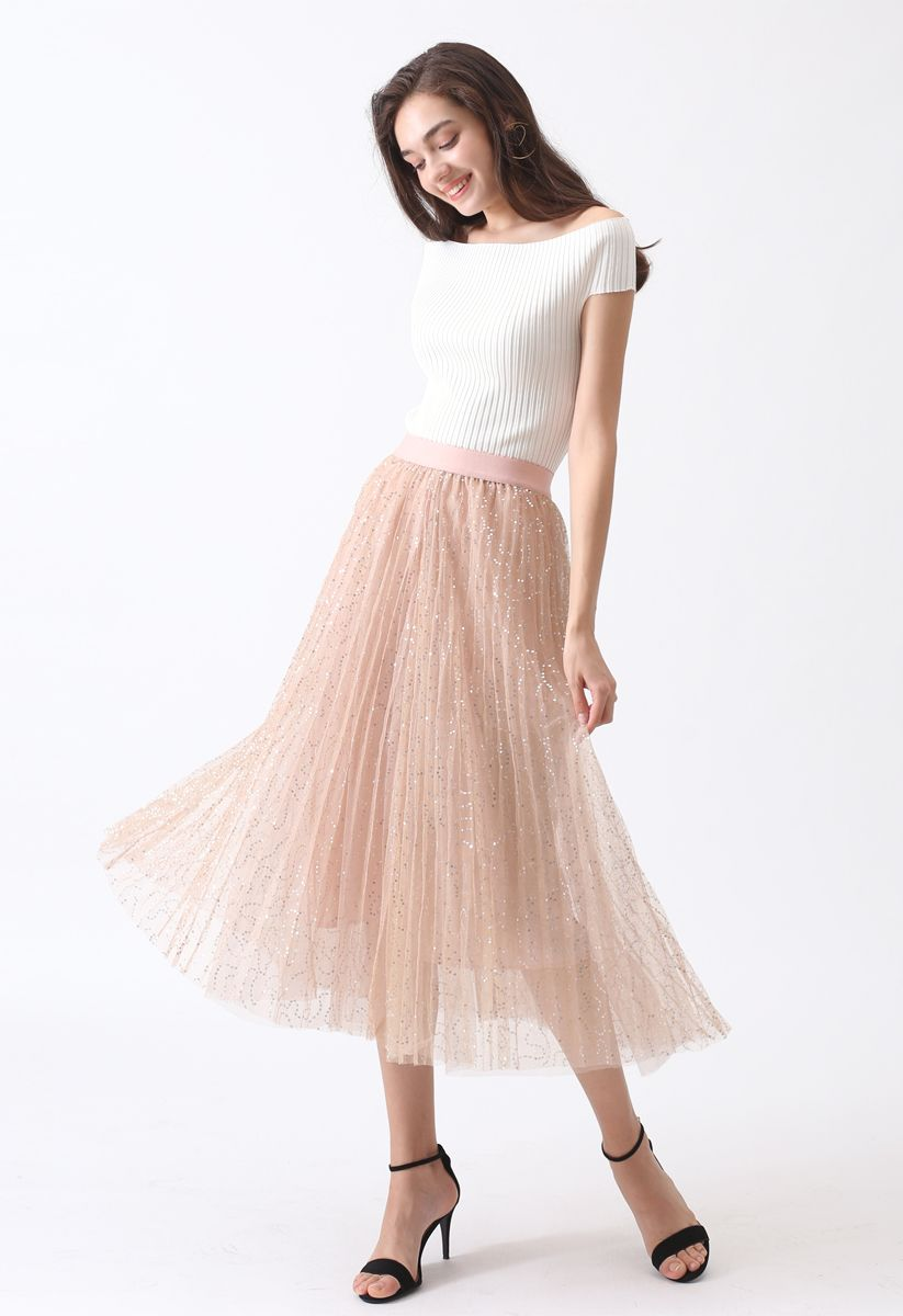 Under the Spotlight Sequins Pleated Midi Skirt in Apricot
