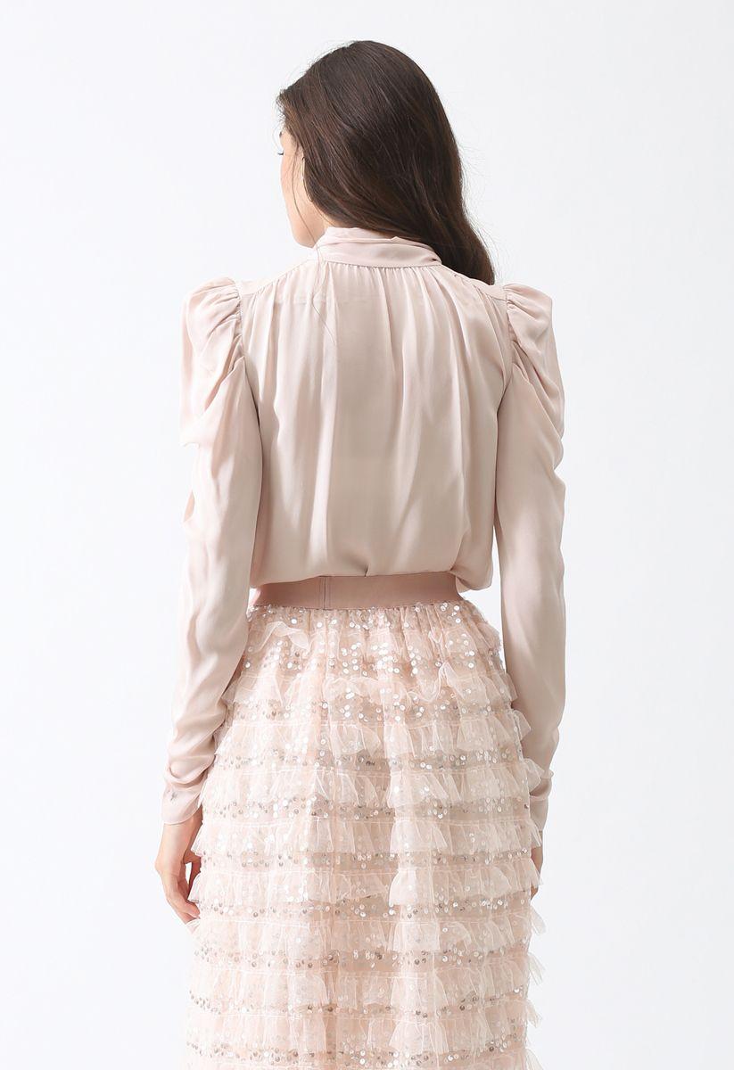 Victorian Bowknot Shirt in Blush