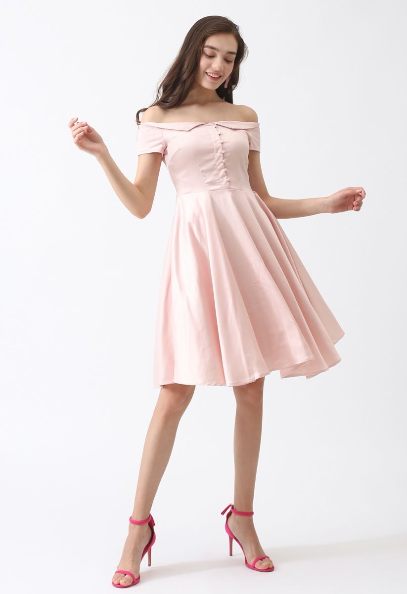 Going Retro Off-Shoulder Midi Dress in Pink