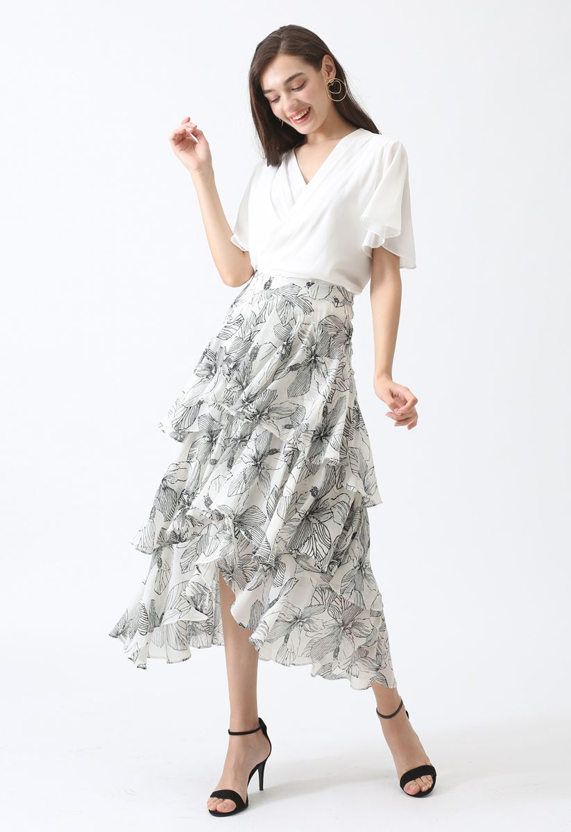 Stay Chic Cropped Cape Top in White