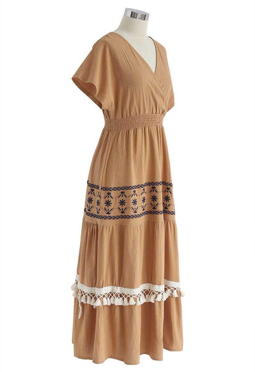 My Only Wish Boho Wrap Dress in Orange