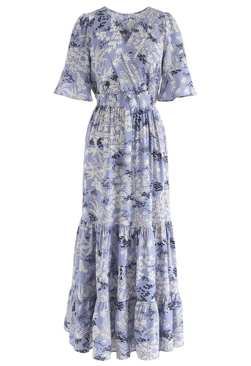 Plant Fairyland Wrap Chiffon Maxi Dress in Blue