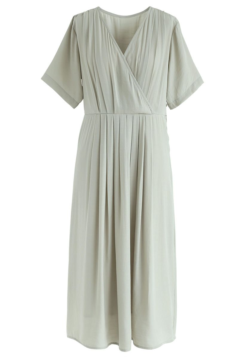 Just Luv Me Pleated Wrap Dress in Mint