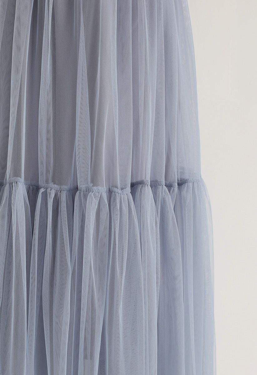 Can't Let Go Mesh Tulle Skirt in Dusty Blue